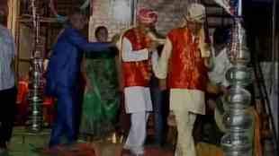 Madhya Pradesh, Two men, married, symbolic gesture, appease, rain gods, Indore