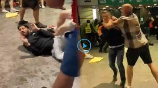 England Fans Fight Each Other Outside Wembley
