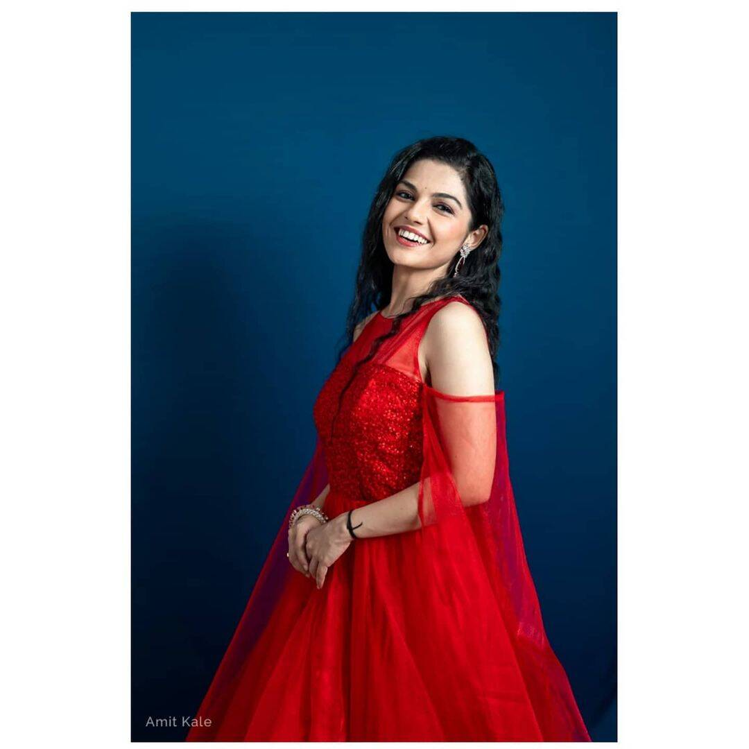 Aarya Ambekar Red Dress Beautiful Photos