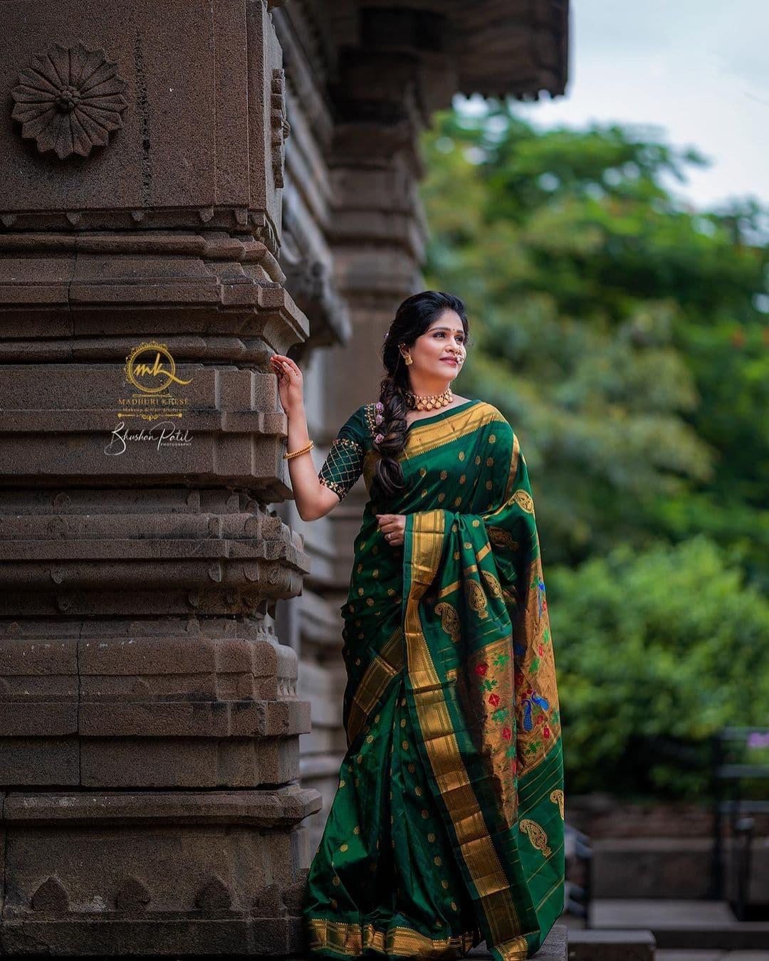 Akshaya Deodhar Paithani Saree Traditional Maharashtrian Look