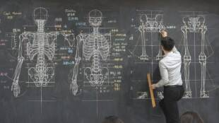 This University Professor Teaches Using Insanely Detailed Drawings Using A Chalk And A Blackboard